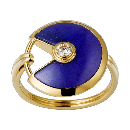 amulette de cartier replica yellow gold ring Lapis Lazuli diamond B4213700