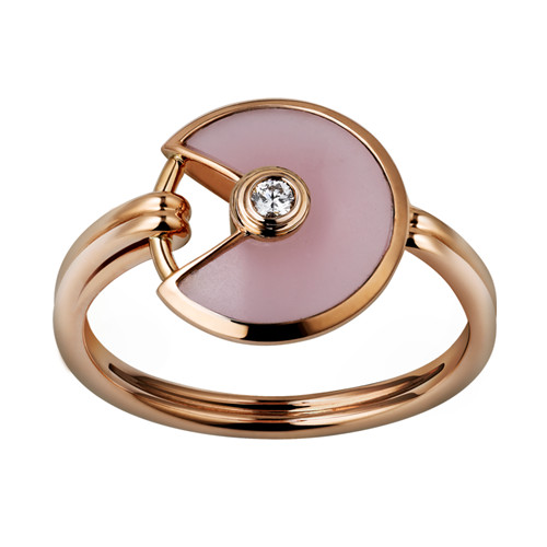 amulette de cartier replique Or rose bague Opale rose diamant B4213400