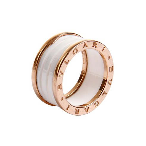 Bvlgari B.ZERO1 replica ring pink gold 4 band with white ceramic
