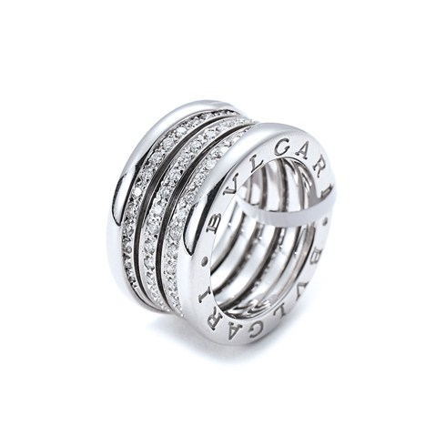 Bvlgari B.ZERO1 copie bague or blanc 4 bandes Central Couvert de diamants