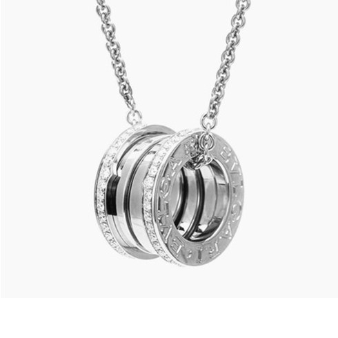 fake Bvlgari B.ZERO1 necklace white gold paved with diamonds pendant