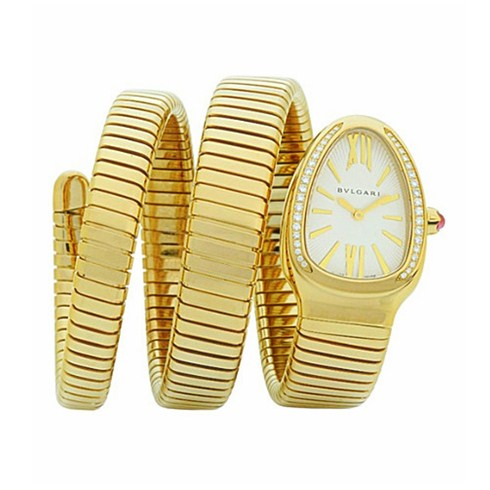 Bvlgari Serpenti Tubogas replique montre or jaune Double hélice Avec des diamants