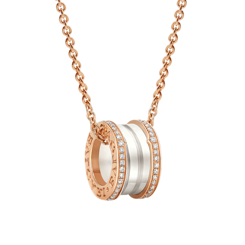Bvlgari B.ZERO1 replica necklace pink gold white ceramic with pave diamonds pendant