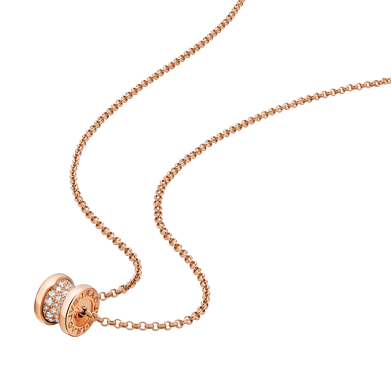Bvlgari B.ZERO1 faux Collier Or rose Pavé de diamants pendentif