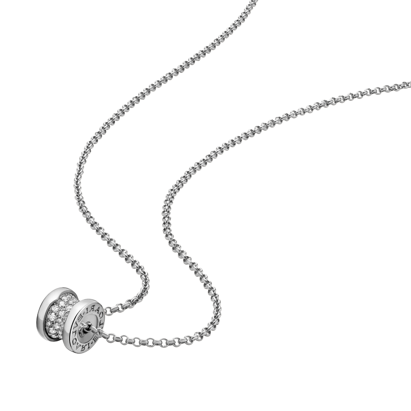 Bvlgari B.ZERO1 replica necklace white gold paved with diamonds pendant