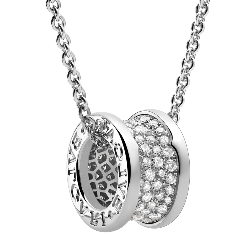 replique Bvlgari B.ZERO1 Collier or blanc Pavé de diamants pendentif
