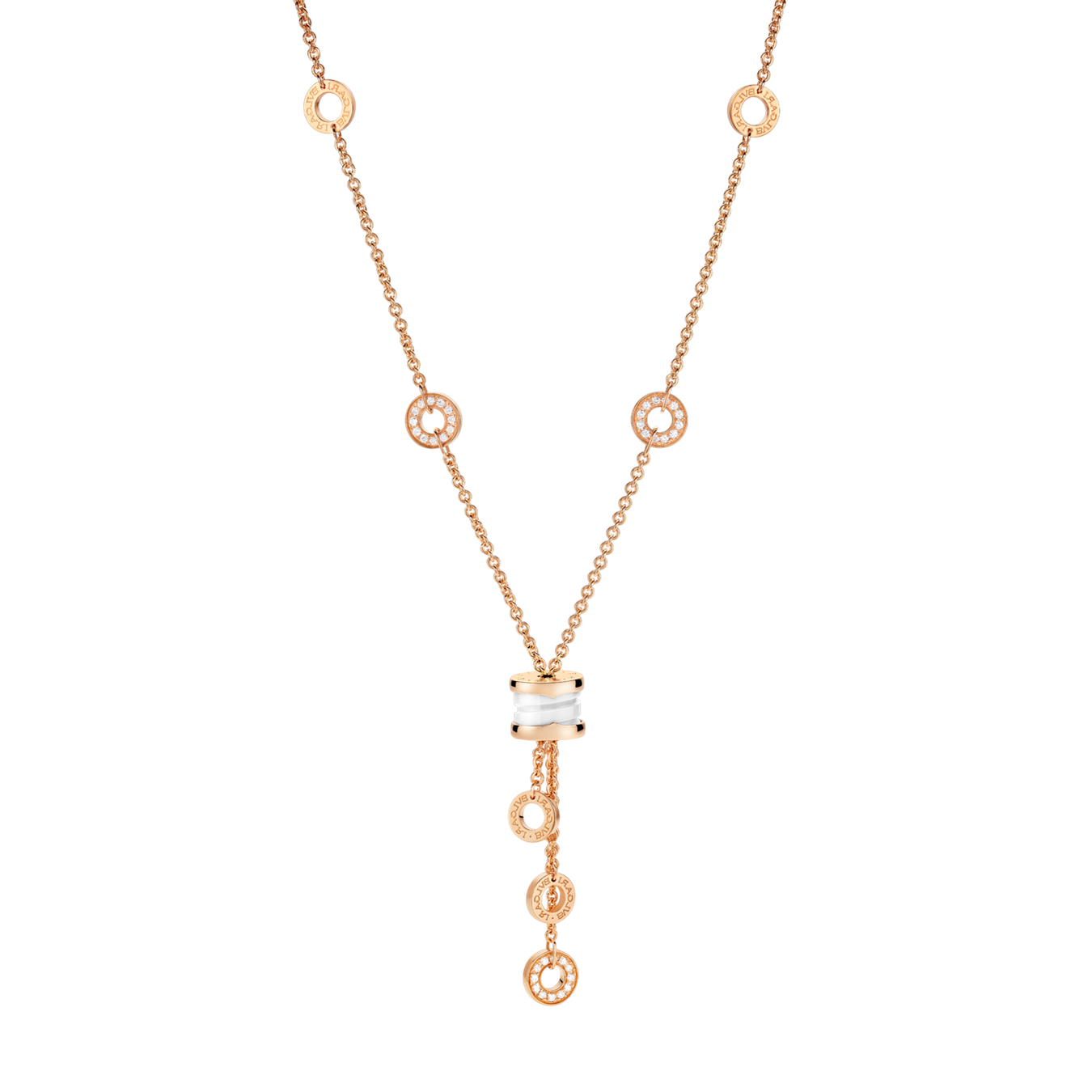 Bvlgari B.ZERO1 fake necklace pink gold white ceramic pendant