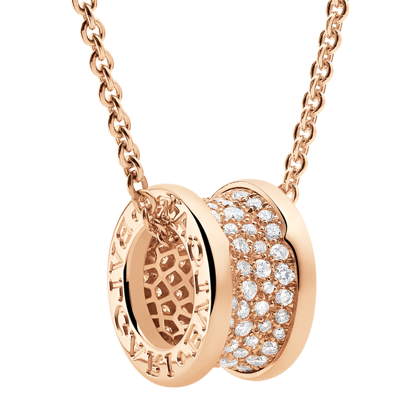Bvlgari B.ZERO1 imitaion necklace pink gold paved with diamonds pendant