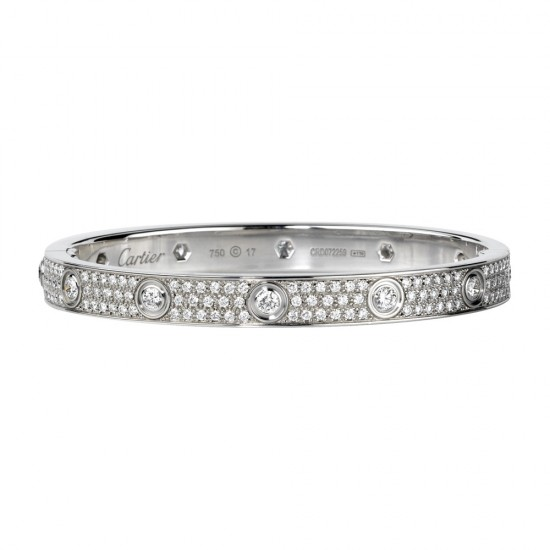 cartier replica love bracelet white gold with 10 Diamonds paved with diamonds
