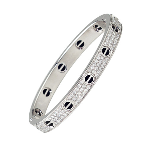 cartier fake love bracelet white gold steel paved with diamonds