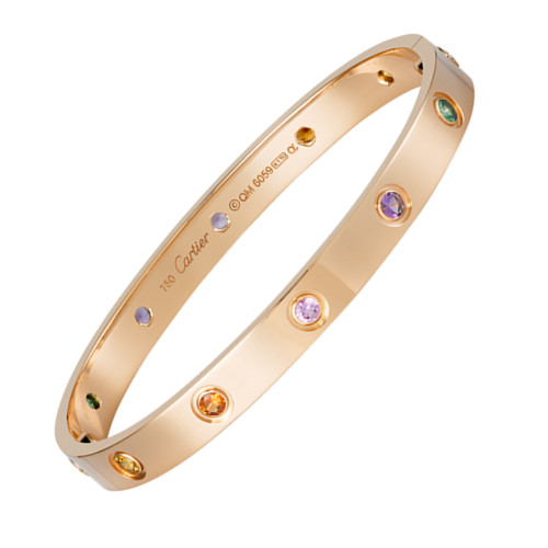 cartier copie love bracelet Or rose acier Saphir, grenade, pierre, améthyste