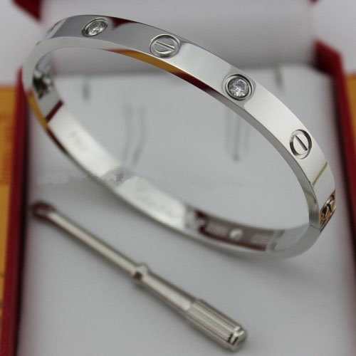 Cartier Faux Love Bracelet Or Blanc Acier Avec 4 Diamants