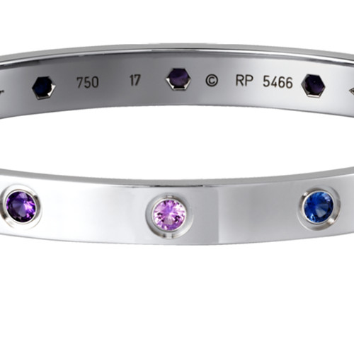 cartier replica love bracelet white gold steel aquamarine sapphire spinel amethyst