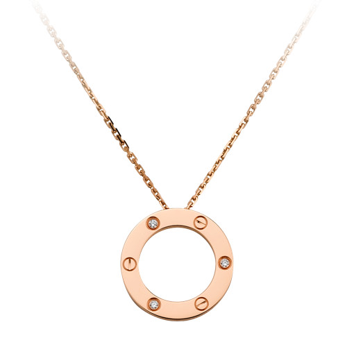 cartier copie love Collier Or rose Avec 3 diamants pendentif