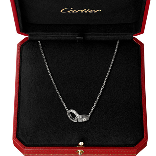 cartier replique love Collier or blanc Une bague couverte de diamants pendentif