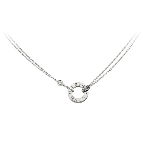 cartier replique love Collier or blanc Avec 2 diamants Pendentif double brin