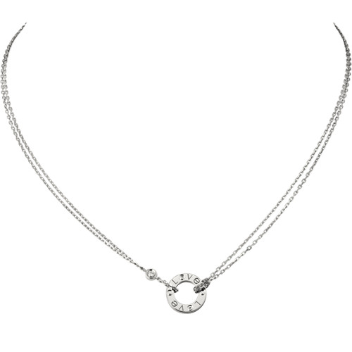 cartier replica love necklace white gold with 2 Diamonds double stranded pendant
