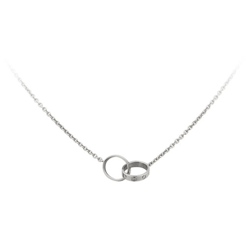 cartier replica love necklace white gold with double ring pendant