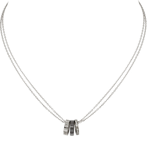cartier replica love necklace white gold Precision ceramics tricyclic mosaic 18 diamonds pendant