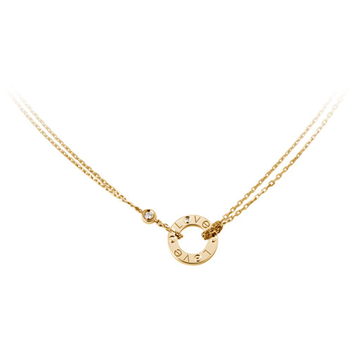 cartier faux love Collier or jaune Avec 2 diamants Pendentif double brin