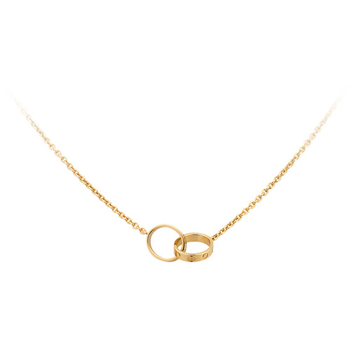 cartier fake love necklace yellow gold with double ring pendant