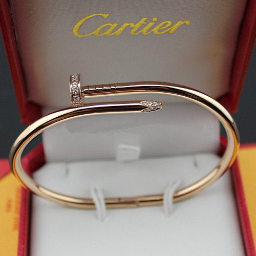 cartier copy juste un clou steel bracelet pink gold set with diamonds