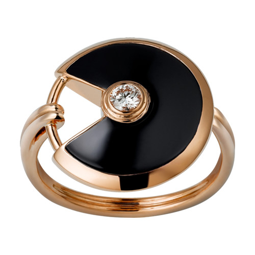 amulette de cartier replica pink gold ring black onyx diamond B4214800