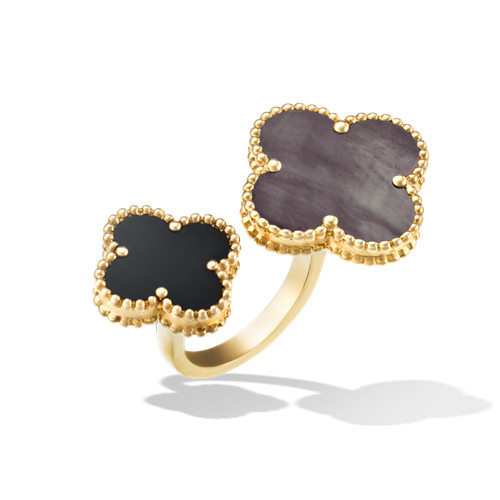 between the finger or jaune replique van cleef & arpels gray mother-of-pearl and onyx bague