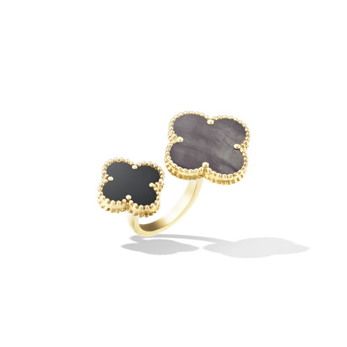 between the finger oro giallo replica van cleef & arpels gray mother-of-pearl and onyx anello