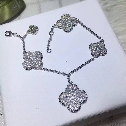 alhambra or blanc replique van cleef & arpels round Diamants bracelet