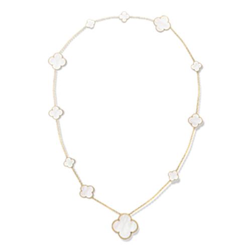 alhambra oro giallo imitazione van cleef & arpels white mother-of-pearl lunga collana