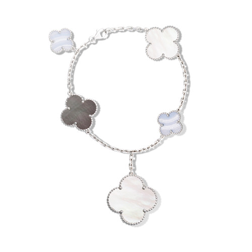 alhambra oro bianco replica van cleef & arpels white and gray mother-of-pearl bracciale