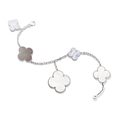 alhambra or blanc replique van cleef & arpels white and gray mother-of-pearl bracelet