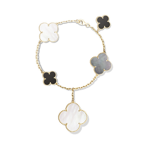 alhambra yellow gold fake van cleef & arpels white and gray mother-of-pearl bracelet
