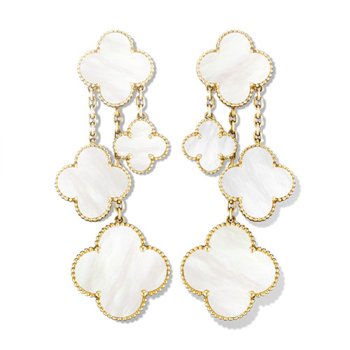 alhambra oro giallo replica van cleef & arpels white mother-of-pearl orecchini