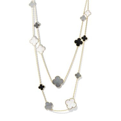 alhambra oro giallo imitazione van cleef & arpels white and gray mother-of-pearl onyx lunga collana