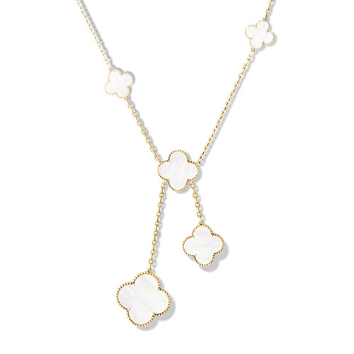 alhambra oro giallo imitazione van cleef & arpels white mother-of-pearl collana