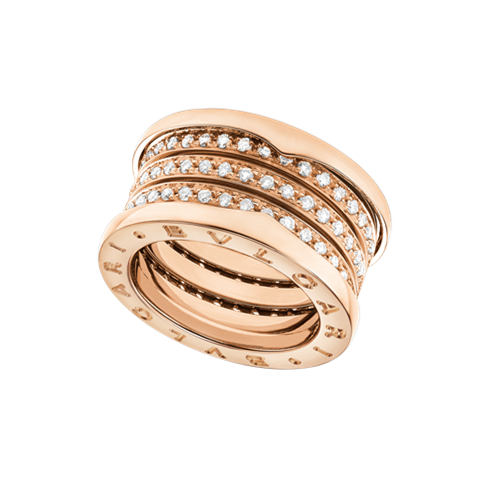 Bvlgari B.ZERO1 Replik Ring Rosa gold 4 Band Gepflastert mit Diamanten