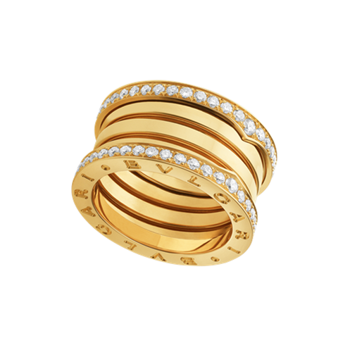 Bvlgari B.ZERO1 replica ring yellow gold 4 band paved with diamonds