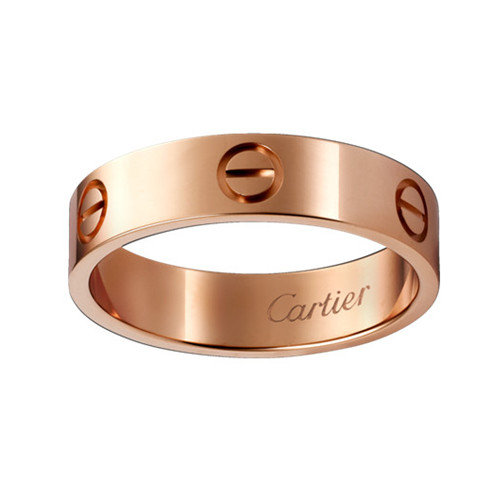 cartier copy love pink Gold ring wide version ring