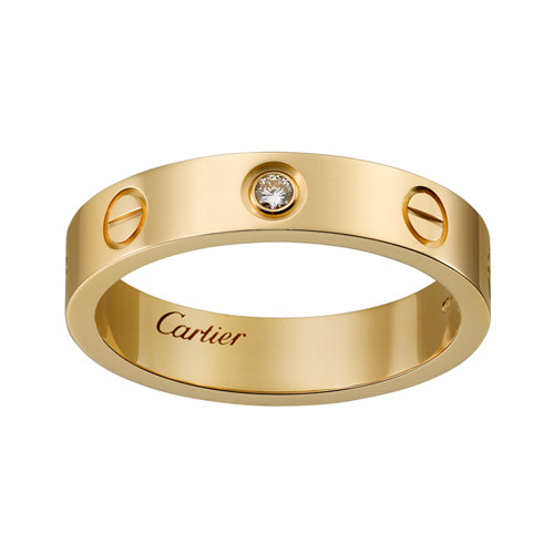 cartier Replik love gelbes Gold Ring Mosaik ein Diamant Schmale Version