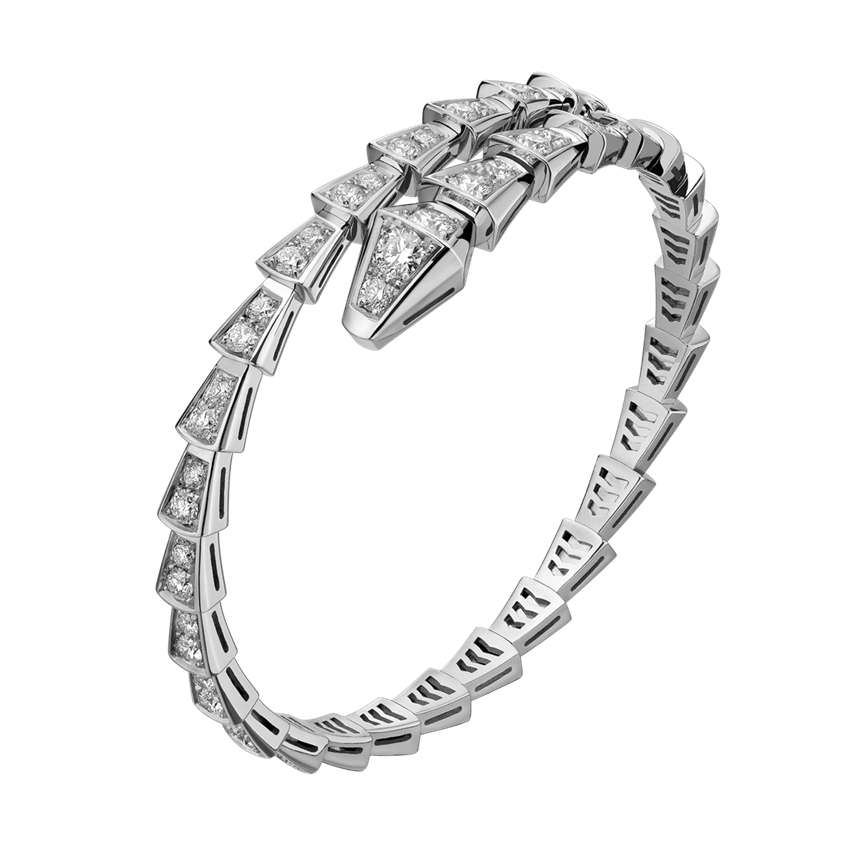 Bvlgari Serpenti replica Bracelet white gold Single helix Covered with diamonds