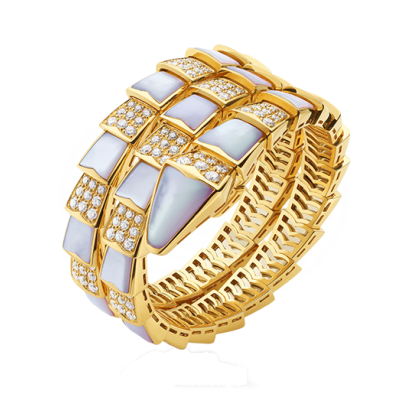 Bvlgari Serpenti faux Bracelet or jaune Avec nacre Et diamants