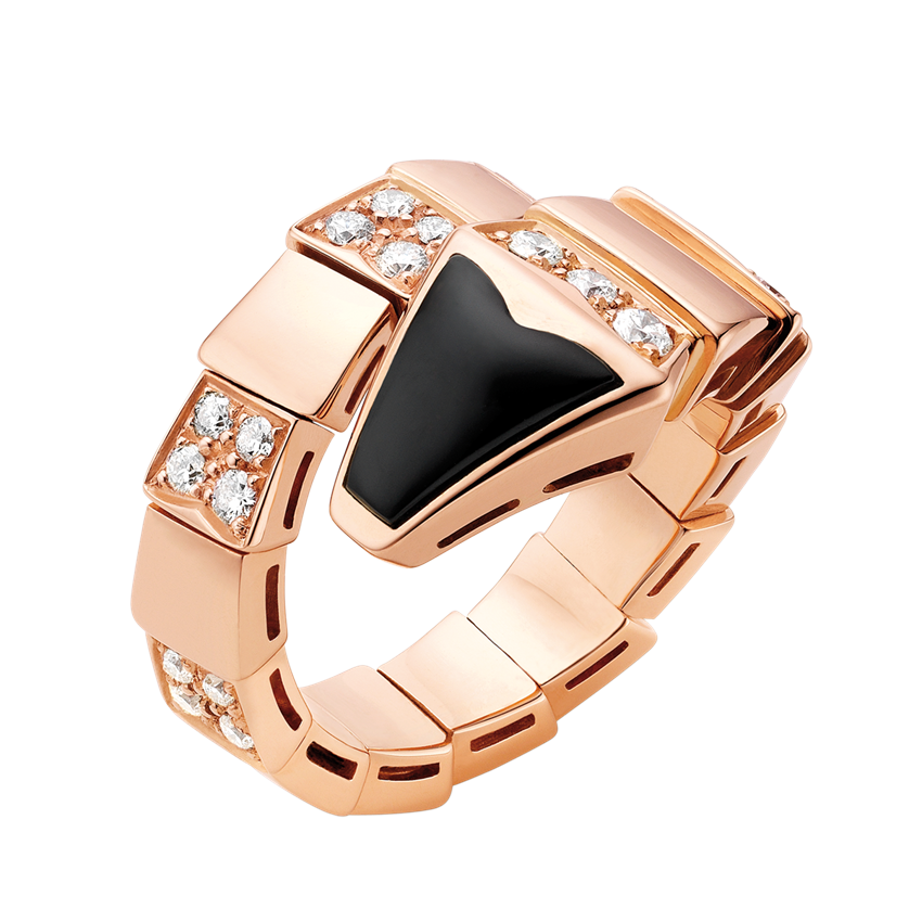 Bvlgari Serpenti fake ring pink gold onyx paved with diamonds