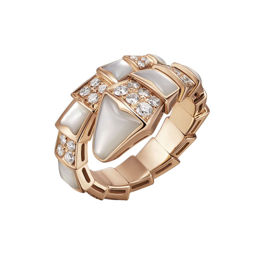 Bvlgari Serpenti fake ring pink gold with mother of pearl and pave diamonds