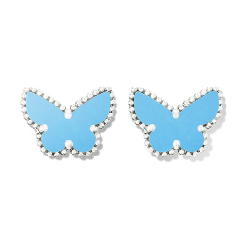 alhambra or blanc faux van cleef & arpels butterfly turquoise boucles d'oreilles