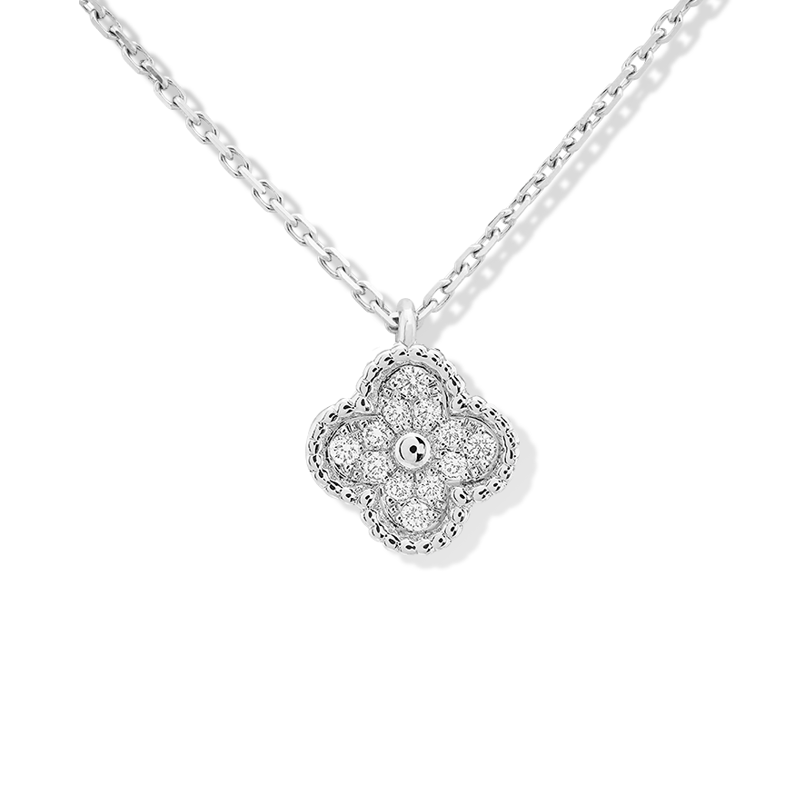 alhambra or blanc replique van cleef & arpels round Diamants pendentif