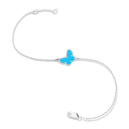 butterfly oro bianco imitazione van cleef & arpels turquoise bracciale