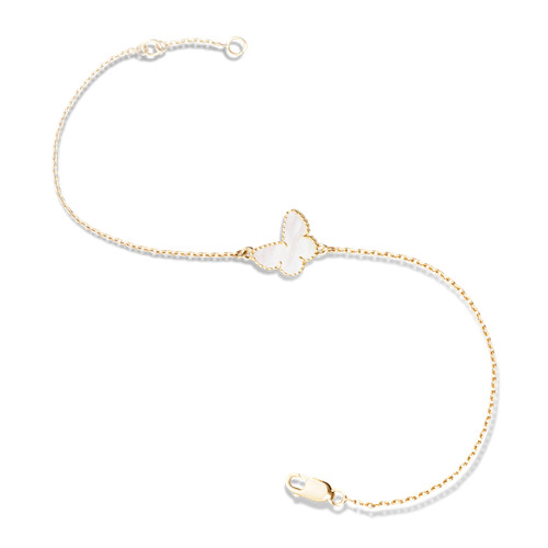 butterfly oro rosa replica van cleef & arpels white mother-of-pearl bracciale
