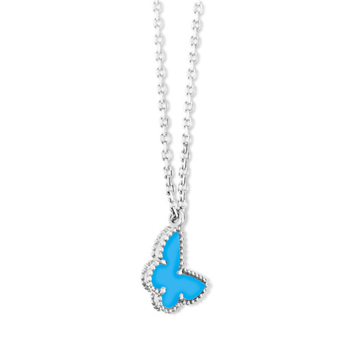 alhambra oro bianco imitazione van cleef & arpels butterfly turquoise ciondolo